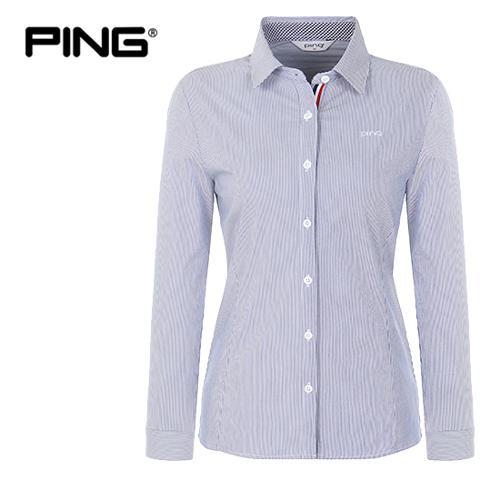 [핑]여성 펜슬 스트라이프 스트레치 코튼 셔츠 12181JS551_NA