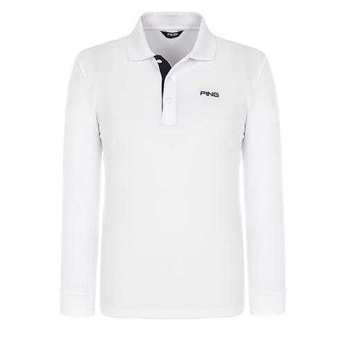[핑]남성 솔리드 긴팔 폴로넥 티셔츠 11281TO901_WH