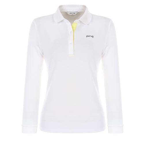 [핑]여성 플래킷 배색 긴팔 카라 티셔츠 12281TO951_WH
