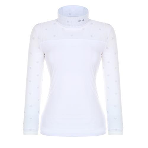 [핑]여성 별 프린트 메쉬 베이스레이어 티셔츠 12281TI960_WH