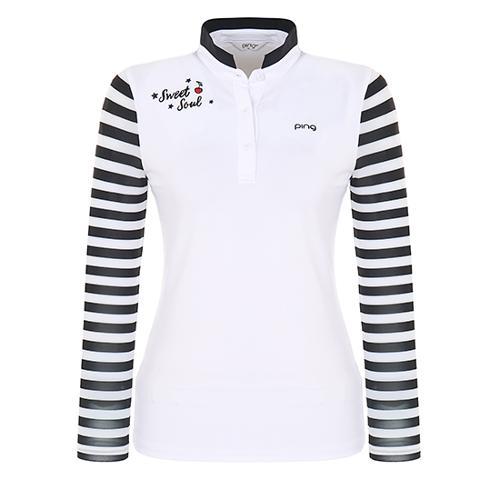 [핑]여성 냉감 스트라이프 긴팔 소매 하이넥 티셔츠 12281TO966_WH