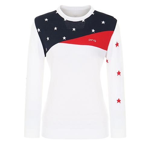 [핑]여성 별 패턴 배색 라운드넥 스웨터 12281SR962_WH