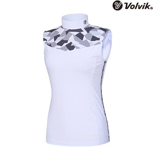 [볼빅브이닷] 여성 투블럭카모 하이넥 티셔츠 VLTSI408_WH
