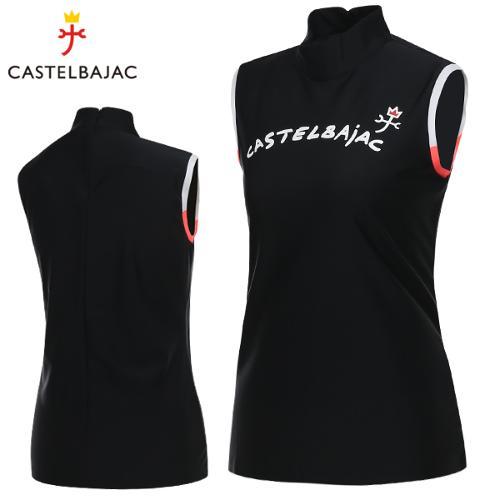 [까스텔바작] 냉감 스판 뒷면집업 여성 하프넥 민소매 티셔츠/골프웨어_244027