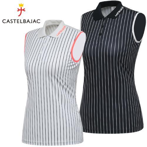 [까스텔바작] 폴리스판 스트라이프 여성 카라넥 민소매 티셔츠/골프웨어_244028