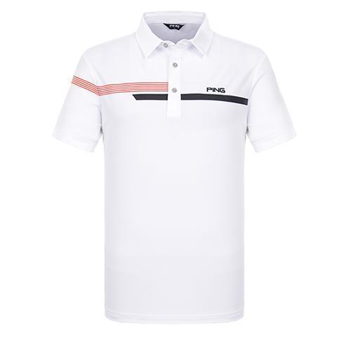 [핑]남성 라인 포인트 냉감 반팔 티셔츠 11292TO918_WH