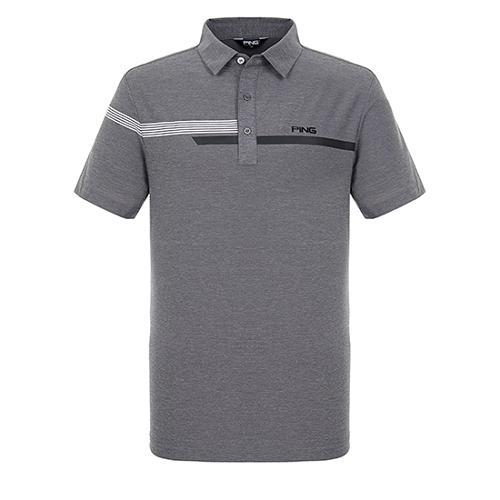 [핑]남성 라인 포인트 냉감 반팔 티셔츠 11292TO918_GY
