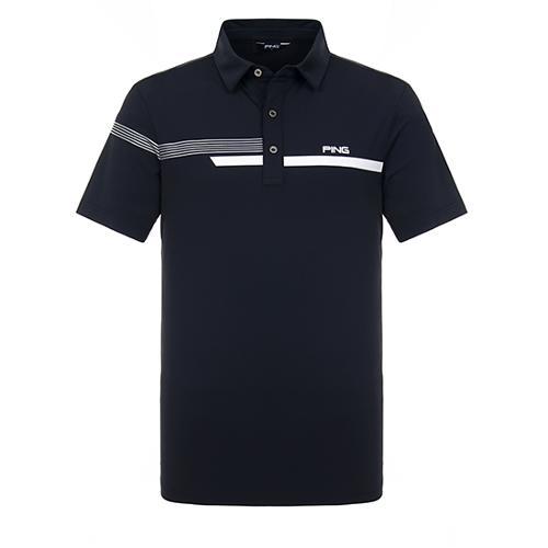 [핑]남성 라인 포인트 냉감 반팔 티셔츠 11292TO918_BK