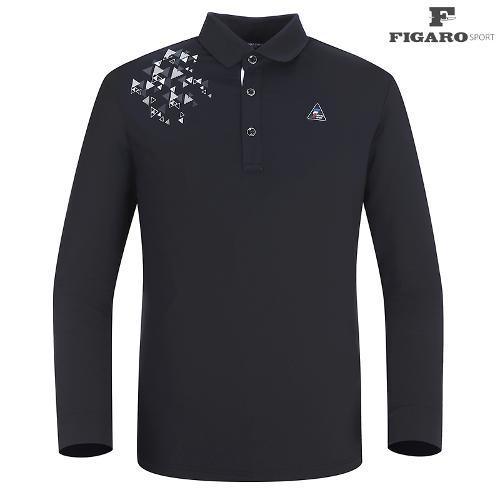 ★[피가로스포츠] 남성 도형프린트 카라 티셔츠 FASTS004M_BK