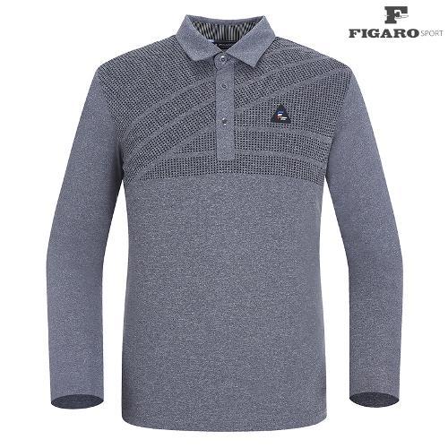 ★[피가로스포츠] 남성 사선 패턴 카라 티셔츠 FASTS007M_MG
