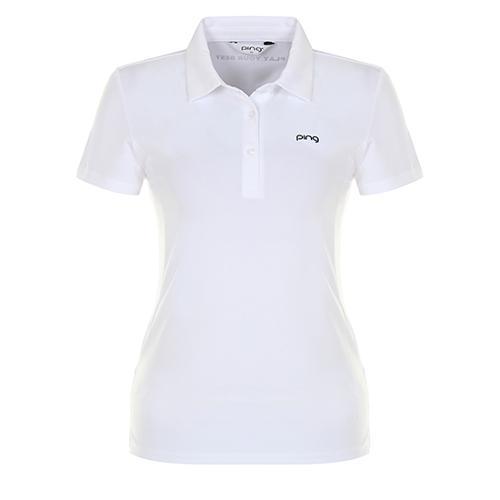 [핑]여성 솔리드 스트레치 반팔 티셔츠 12282TO952_WH