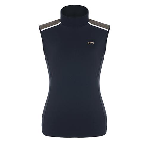 [핑]여성 도트 숄더 슬리브리스 티셔츠 12182TL165_BK