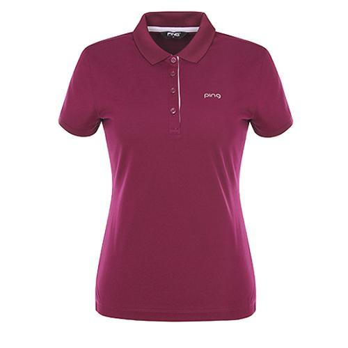 [핑]여성 포인트 패턴 카라 반팔 티셔츠12272TO951_WN