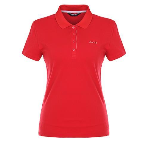 [핑]여성 포인트 패턴 카라 반팔 티셔츠12272TO951_RE