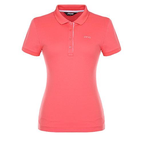 [핑]여성 포인트 패턴 카라 반팔 티셔츠12272TO951_CO