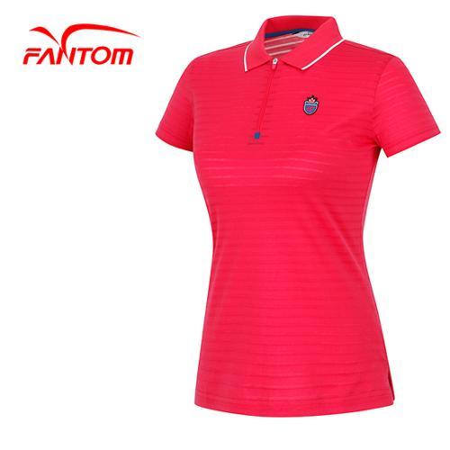 [팬텀]여성 배색 카라라인 와펜로고 티셔츠 22142TO056_PK
