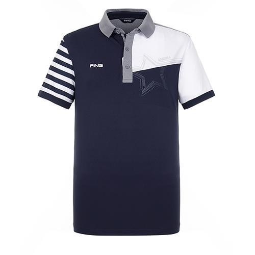 [핑]남성 컬러블럭 반팔 카라 티셔츠 11292TO911_NA