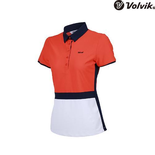 [볼빅브이닷] 여성 칼라블럭킹 골프 피케 반팔 티셔츠 VLTSH354_OR