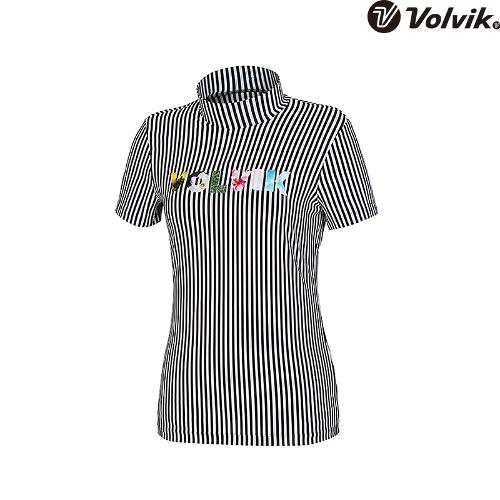 [볼빅브이닷] 여성 골프 블루밍볼빅 하이넥 반팔 티셔츠 VLTSH386_BK