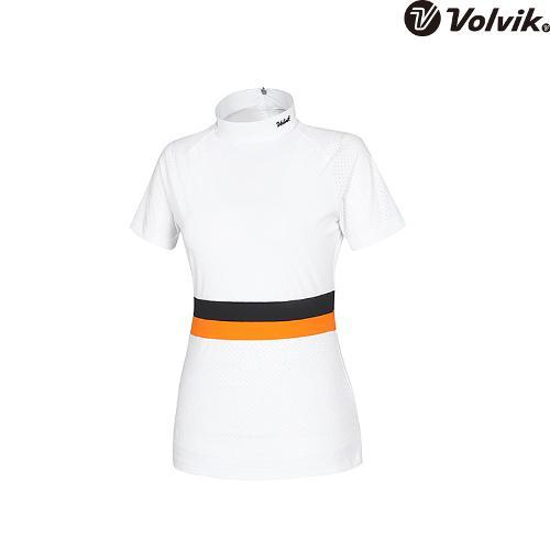 [볼빅브이닷] 여성 소재믹스 칼라배색 반팔 티셔츠 VLTSH478_WH