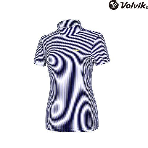 [볼빅브이닷] 여성 골프 세로 스트라이프 하이넥 반팔 티셔츠 VLTSH553_RB