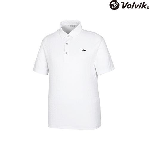 [볼빅브이닷] 남성 골프 V 자가드 반팔 티셔츠 VMTSH427_WH