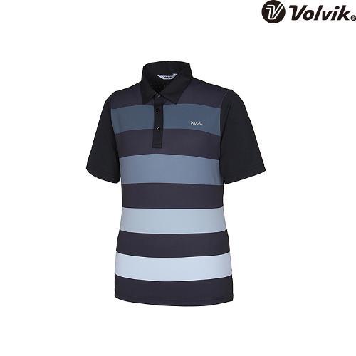 [볼빅브이닷] 남성 골프 스트라이프 프린트 반팔 티셔츠 VMTSH428_BK
