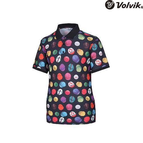 [볼빅브이닷] 남성 골프 모노볼 프린트 카라 반팔 티셔츠 VMTSH429_BK