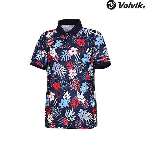 [볼빅브이닷] 남성 골프 컬러풀 트로피컬 프린트 티셔츠 VMTSH602_NA