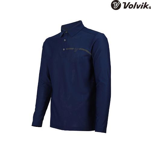 [볼빅브이닷]  남성 골프 솔리드 원포인트 긴팔 티셔츠 VMTSH322_NA