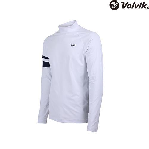 [볼빅브이닷]  남성 골프 소매 포인트 하이넥 긴팔 이너 티셔츠 VMTSH323_WH