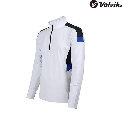 [볼빅브이닷]  남성 골프 배색 반집업 긴팔 티셔츠 VMTSH325_WH
