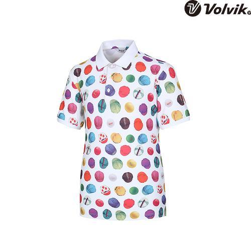 [볼빅브이닷]  남성 골프 모노볼 프린트 카라 반팔 티셔츠 VMTSH429_WH