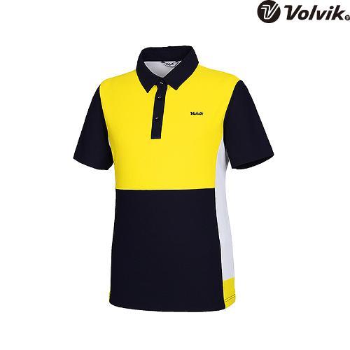 [볼빅브이닷]  남성 골프 칼라 블로킹 반팔 티셔츠 VMTSH504_YE