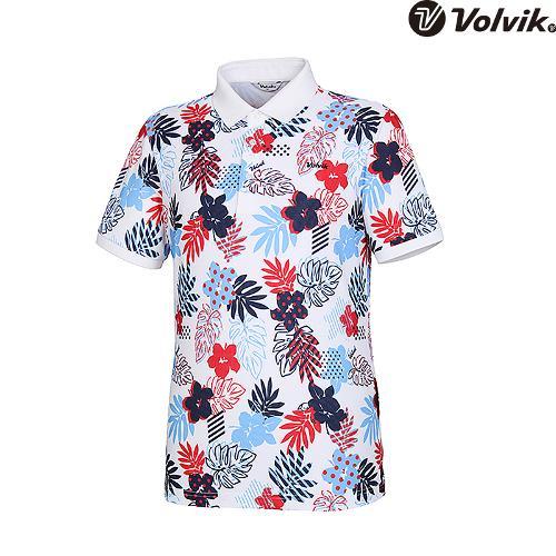 [볼빅브이닷]  남성 골프 컬러풀 트로피컬 프린트 티셔츠 VMTSH602_WH