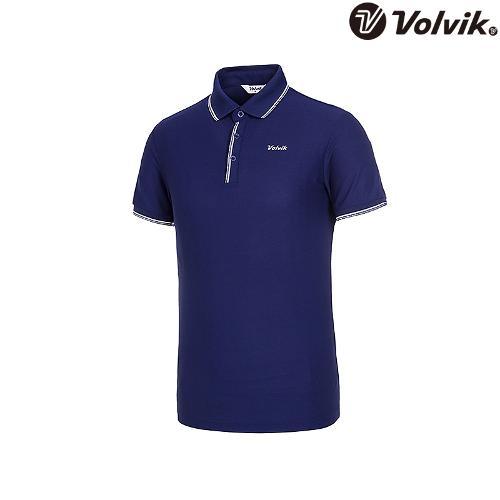 [볼빅브이닷] 남성 라인 배색 반팔 카라 티셔츠 VMTSJD94_BL