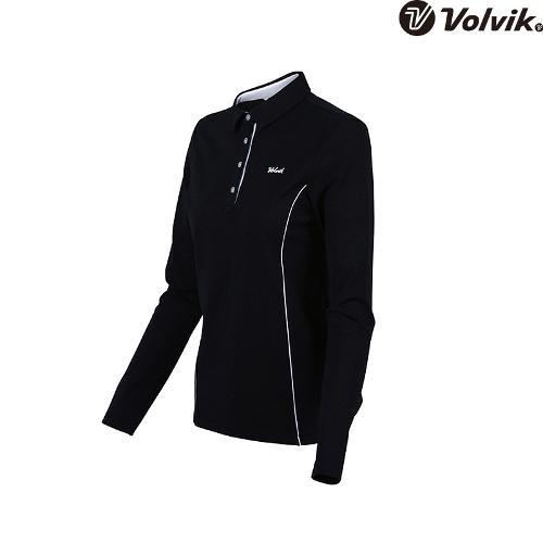 [볼빅브이닷] 여성 골프 기본 솔리드 긴팔 티셔츠 VLTSH351_BK