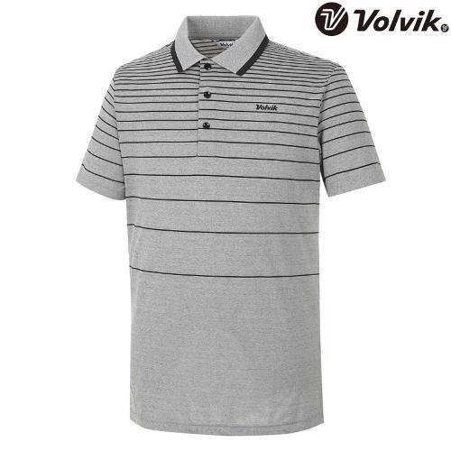 [볼빅브이닷] 남성 골프 잔스트라이프 반팔 티셔츠 VMTSH302_BK
