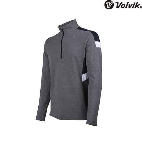 [볼빅브이닷] 남성 골프 배색 반집업 긴팔 티셔츠 VMTSH325_MG