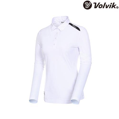 [볼빅브이닷] 여성 로고 포인트 솔리드 카라 티셔츠 VLTSJD91_WH