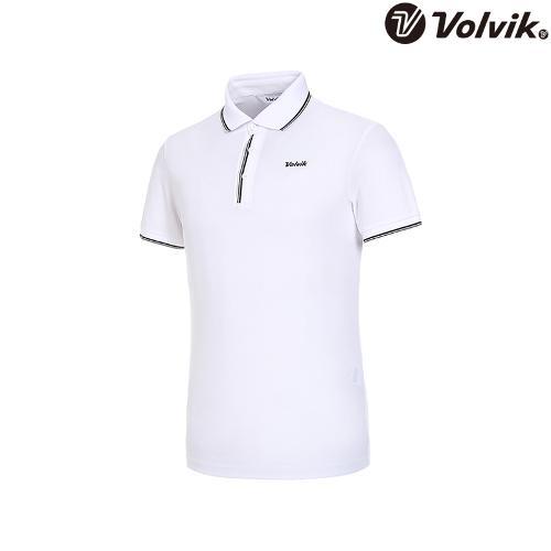 [볼빅브이닷] 남성 라인 배색 반팔 카라 티셔츠 VMTSJD94_WH