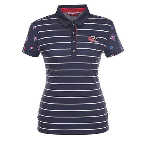 [팬텀]여성 스트레치 믹스 패턴 카라 티셔츠 22172TO078_NA