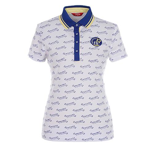 [팬텀]여성 스포티 프린트 배색 카라 티셔츠 22172TO088_BL