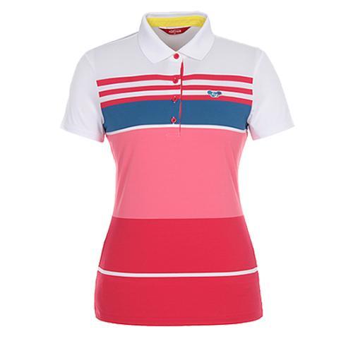 [팬텀]여성 컬러블록 스트라이프 카라 티셔츠 22172TO074_WH