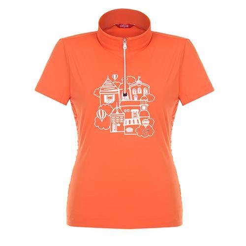 [팬텀]여성 셔링 포인트 하프집업 반팔 티셔츠 22172TH057_OR