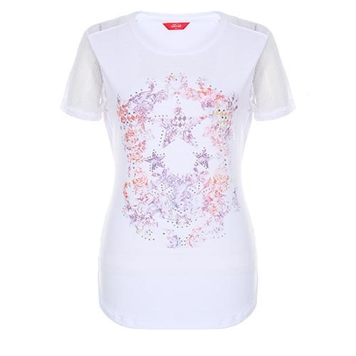 [팬텀]여성 메쉬 패치 라운드 반팔 티셔츠 22172TR152_WH