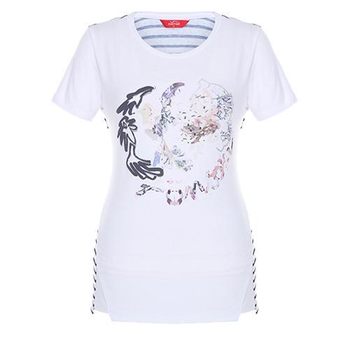 [팬텀]여성 프린트 라운드 티셔츠 22172TR153_WH