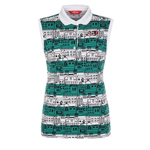 [팬텀]여성 일러스트 카라 슬리브리스 티셔츠 22172TL180_GN