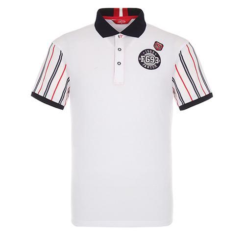 [팬텀]남성 스트라이프 슬리브 카라 반팔 티셔츠 21172TO011_WH