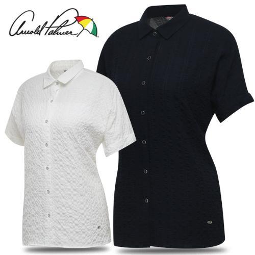 [아놀드파마] 폴리 셔링 가오리핏 여성 카라넥 반팔 셔츠/골프웨어_245059